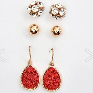 NWT 3 Pair Ashley Cooper Gold & Red Earring Set
